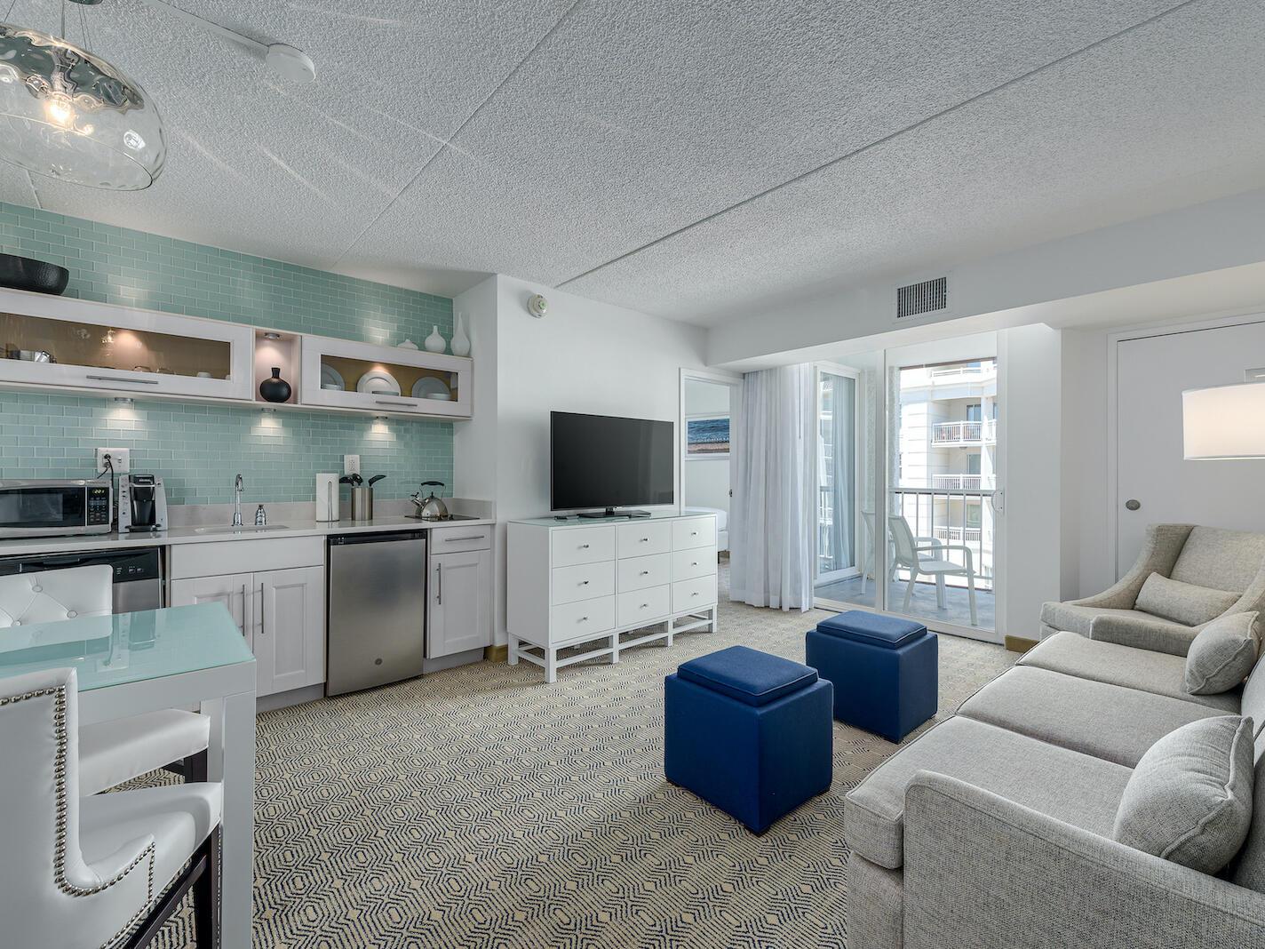 Premium Double Suite Living Room at Beachfront Hotel near Wildwood, NJ