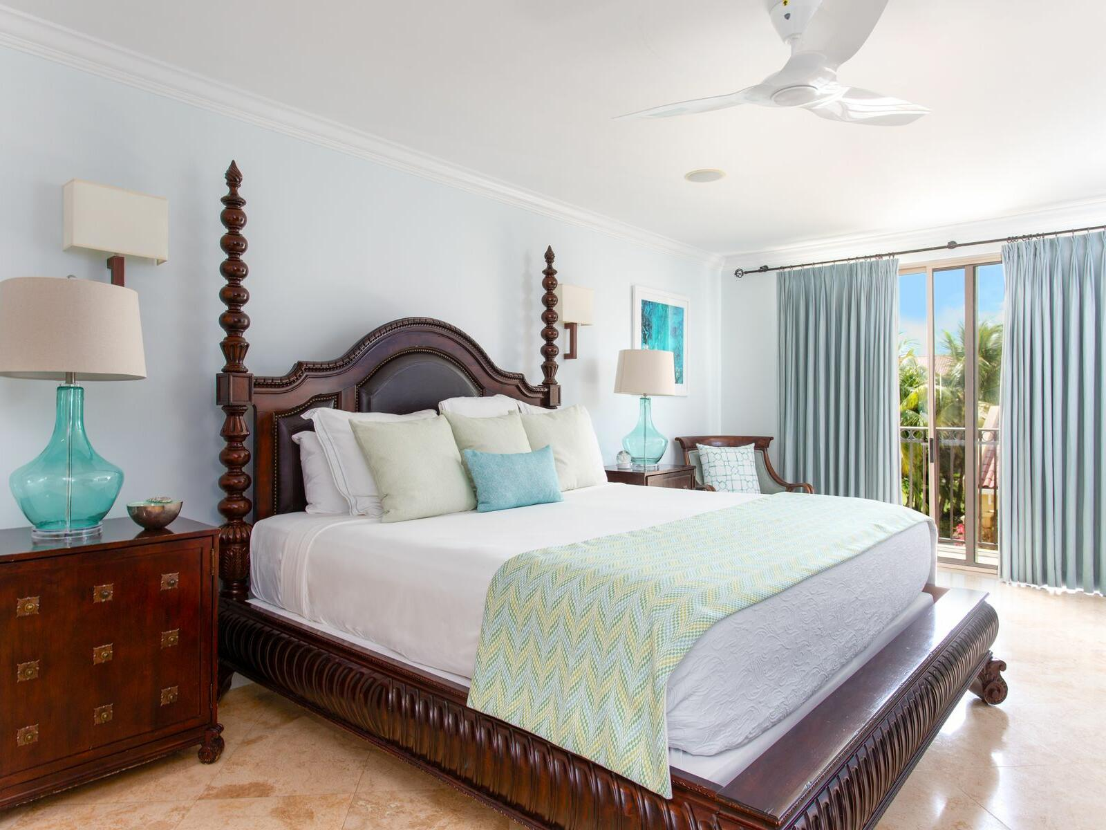 King bed in Two Bedroom Ocean view room at Somerset Grace Bay