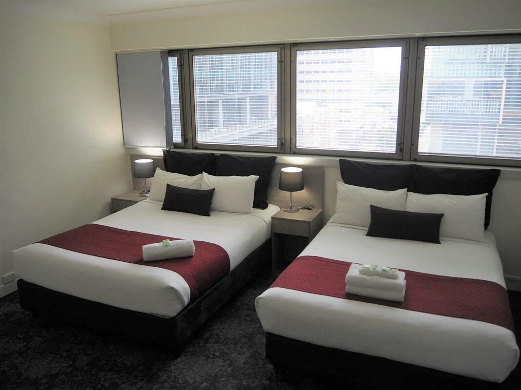 Two comfy beds in Queen Double room at George Williams Hotel