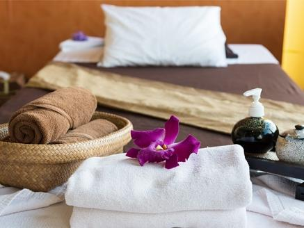 relaxing spa room set up at Amora Hotel