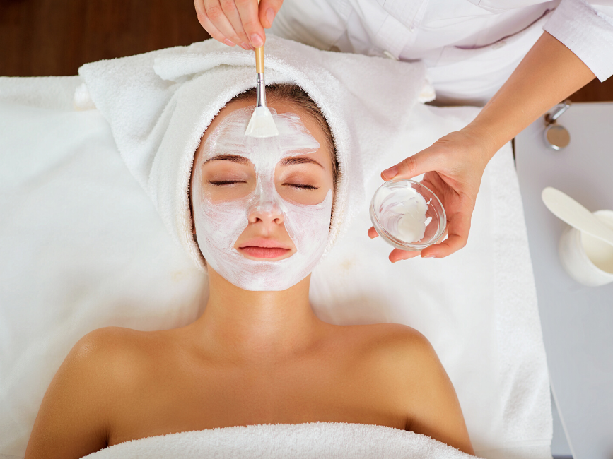 lady having a facial mask treatment