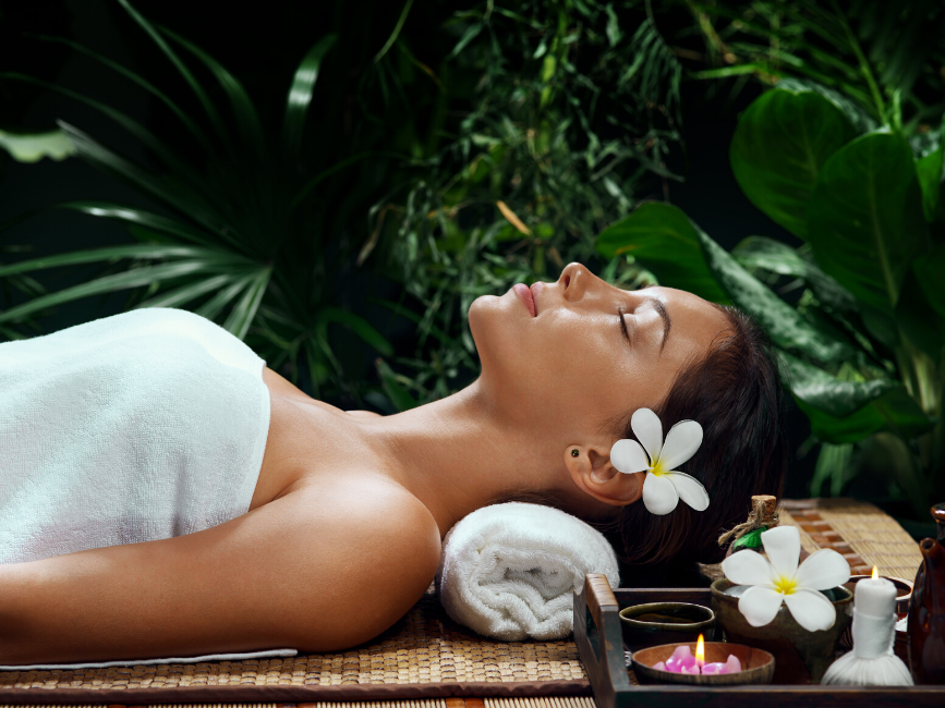 woman lying down for spa treatments