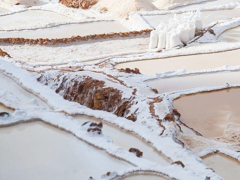 View from far of Maras: Salt of the Incas near Hotel Sumaq