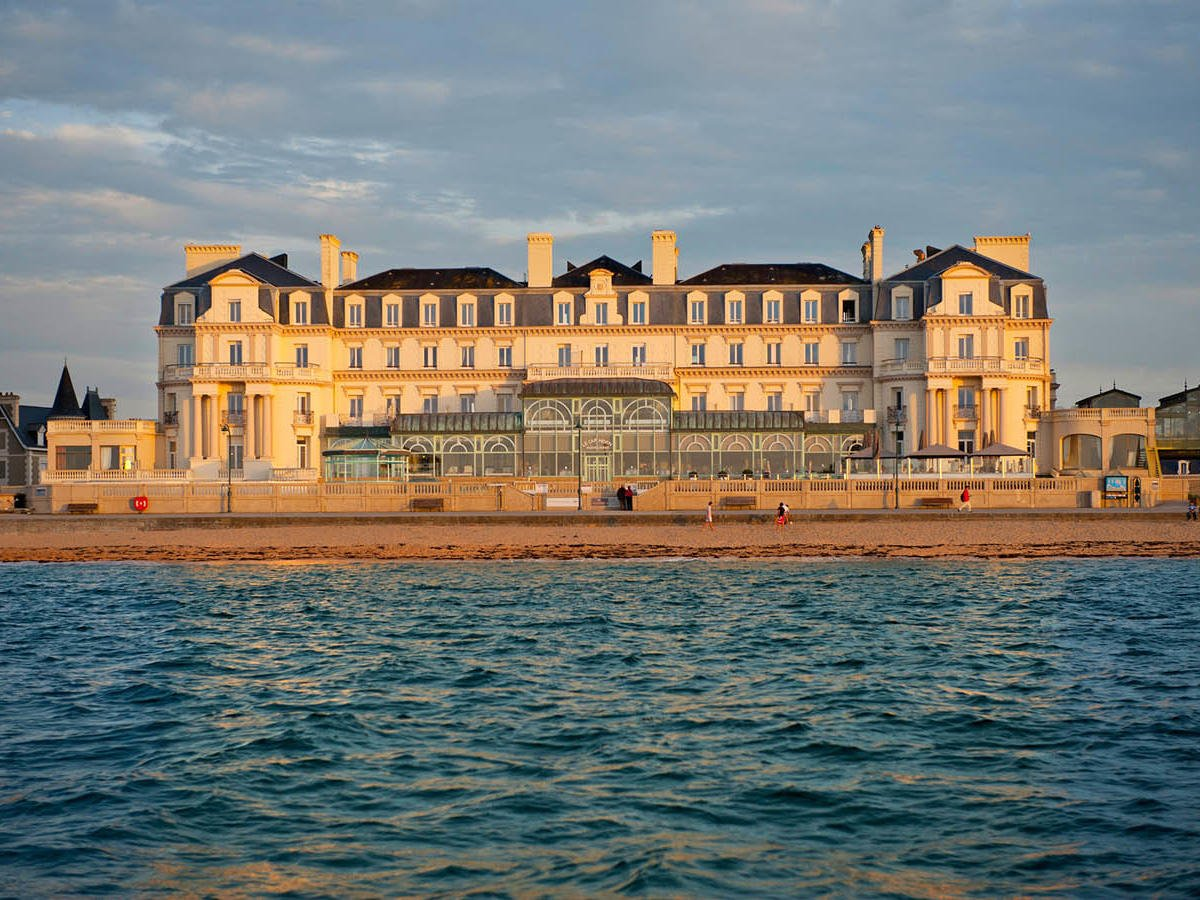 Hotel from water at Grand Hotel des Thermes