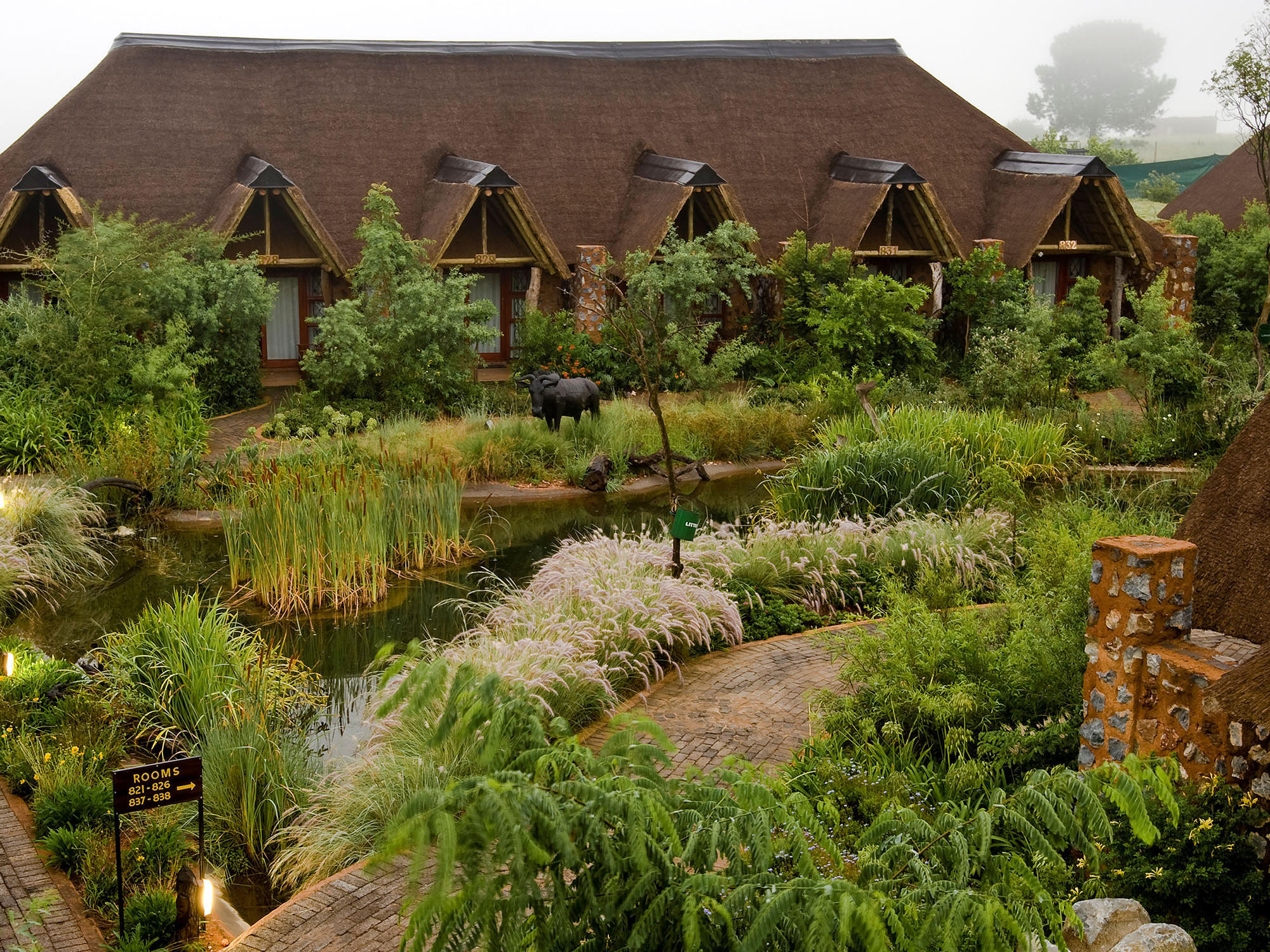 Landscape of the hotel with green garden