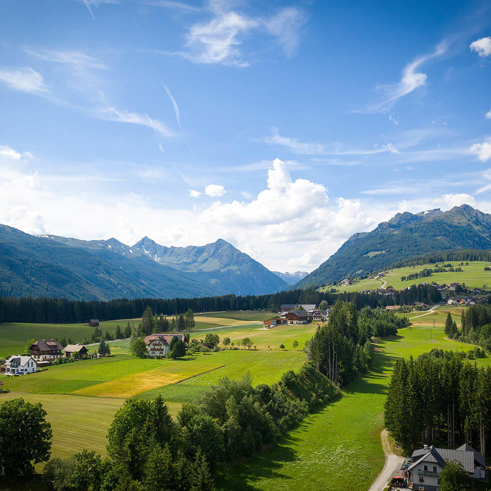 Panoramic View of Mountains and Valley near Falkensteiner Hotels and Residences