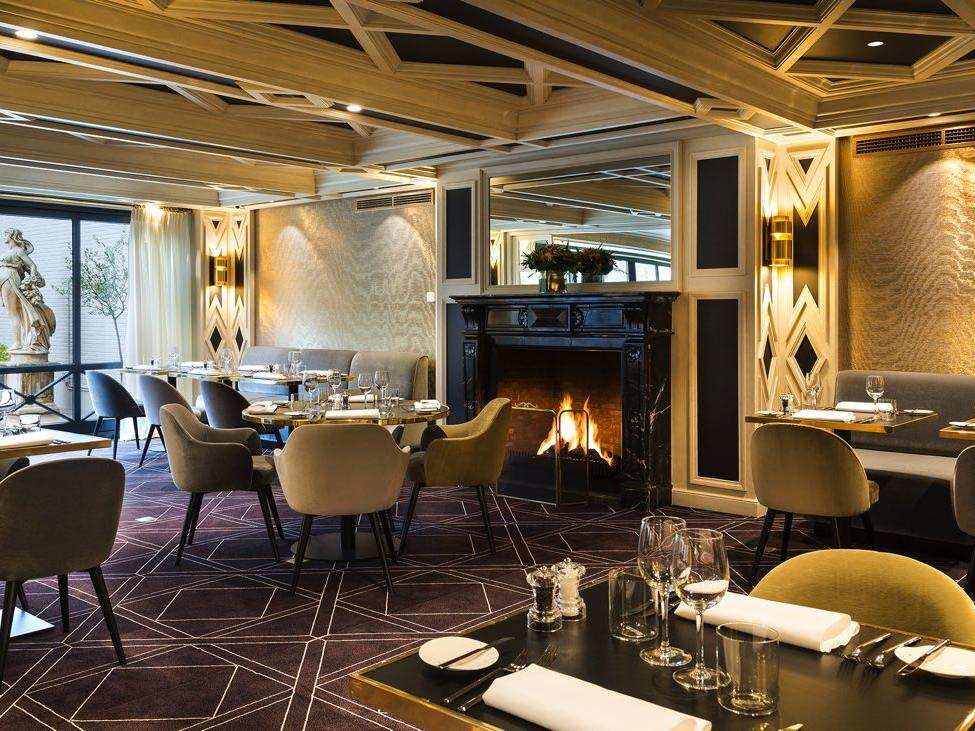 Fireplace at The Avenue restaurant at Avenue Louise Brussels