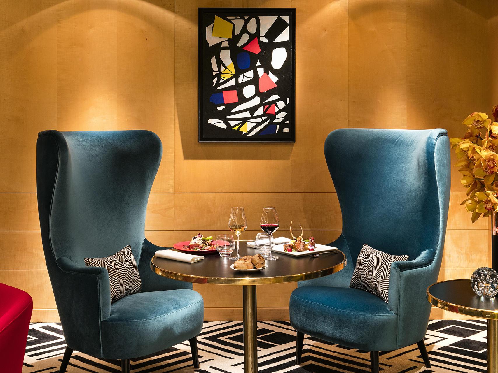 Restaurant Le W Blue Armchairs