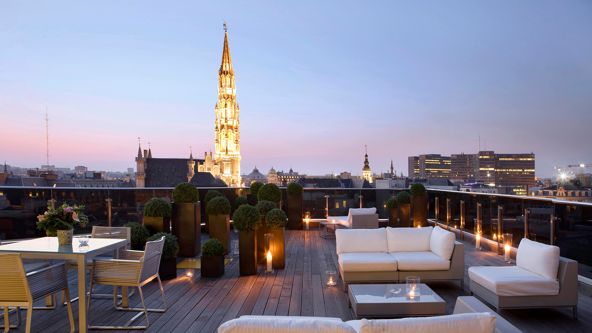 Grand Place Suite Terrace at night at the Warwick Brussels