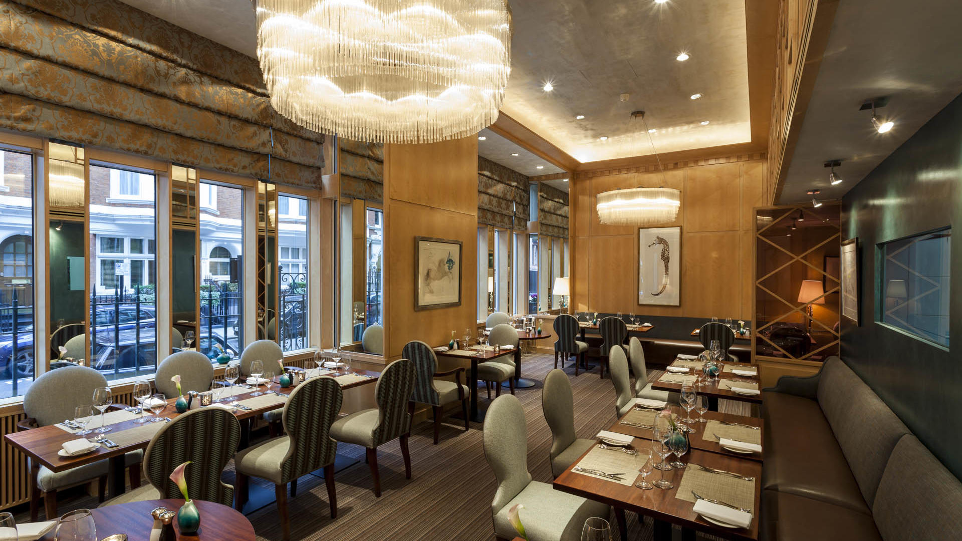 Dining area with exterior view at The Restaurant at the Capital