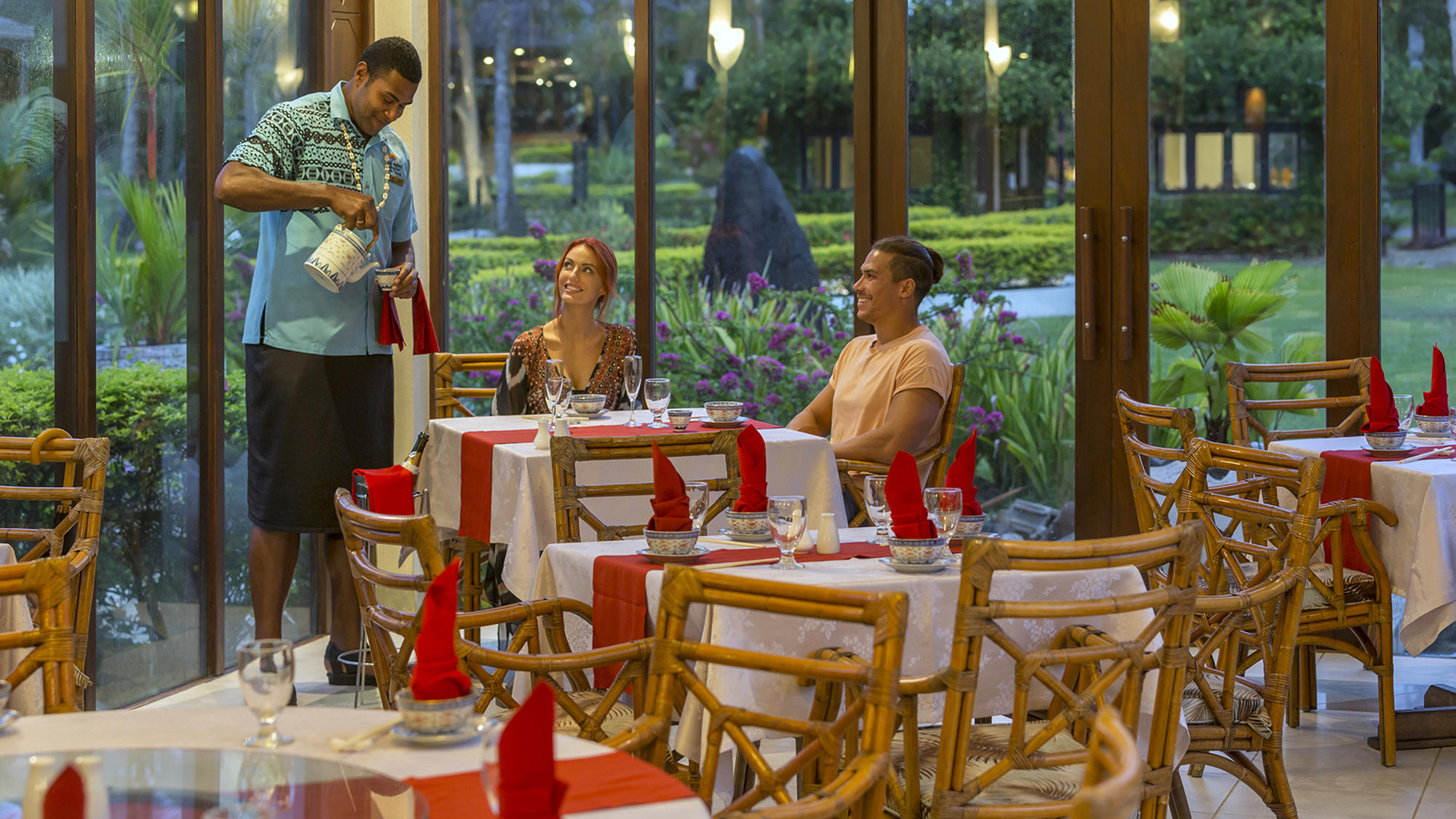 Bamboo Restaurant with Couple at Naviti Resort Fiji