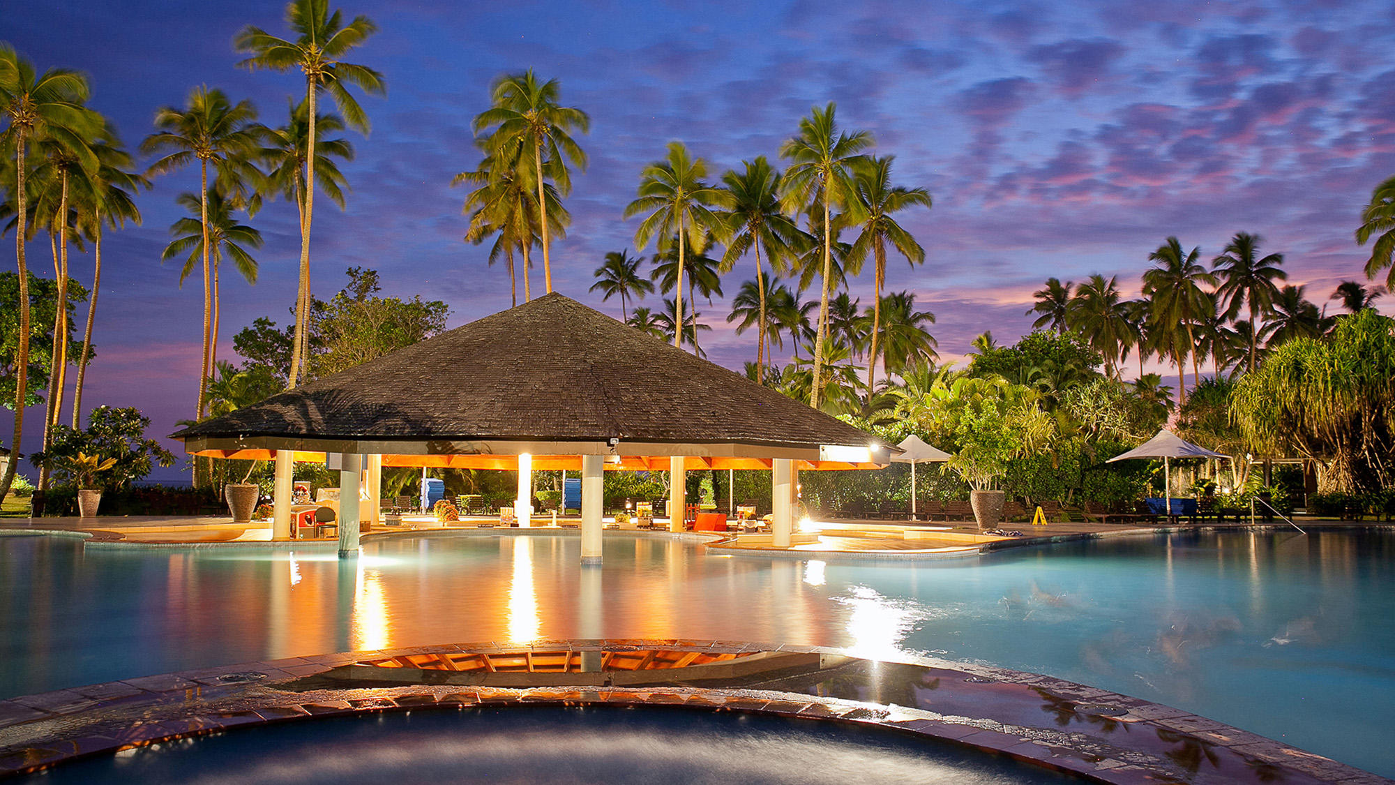 Pool Bar at Sunset at Naviti Resort Fiji