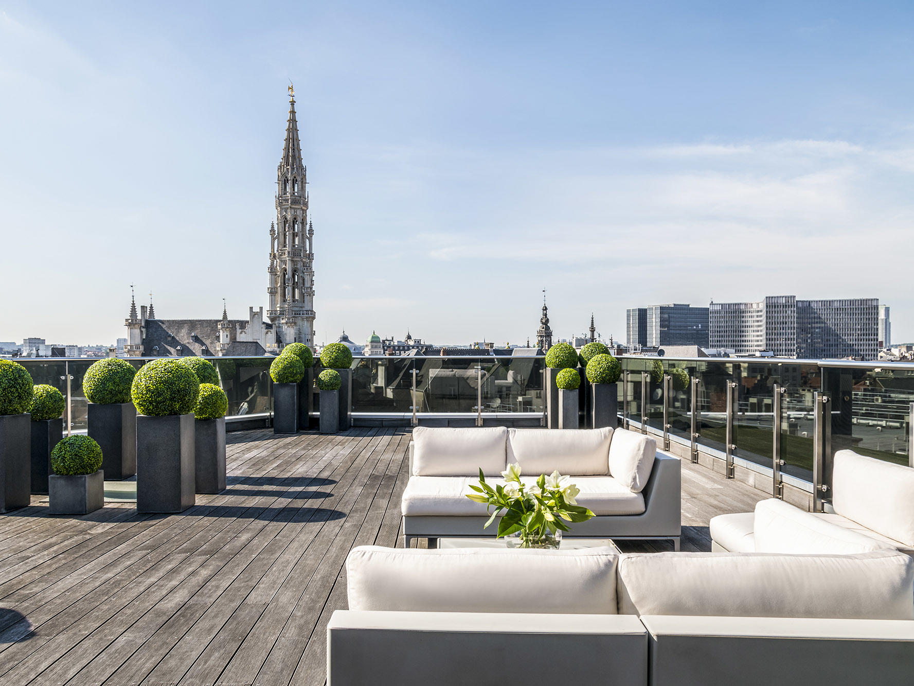 Suite Grand Place Terrace Lounge Area at Brussels Warwick Hotels