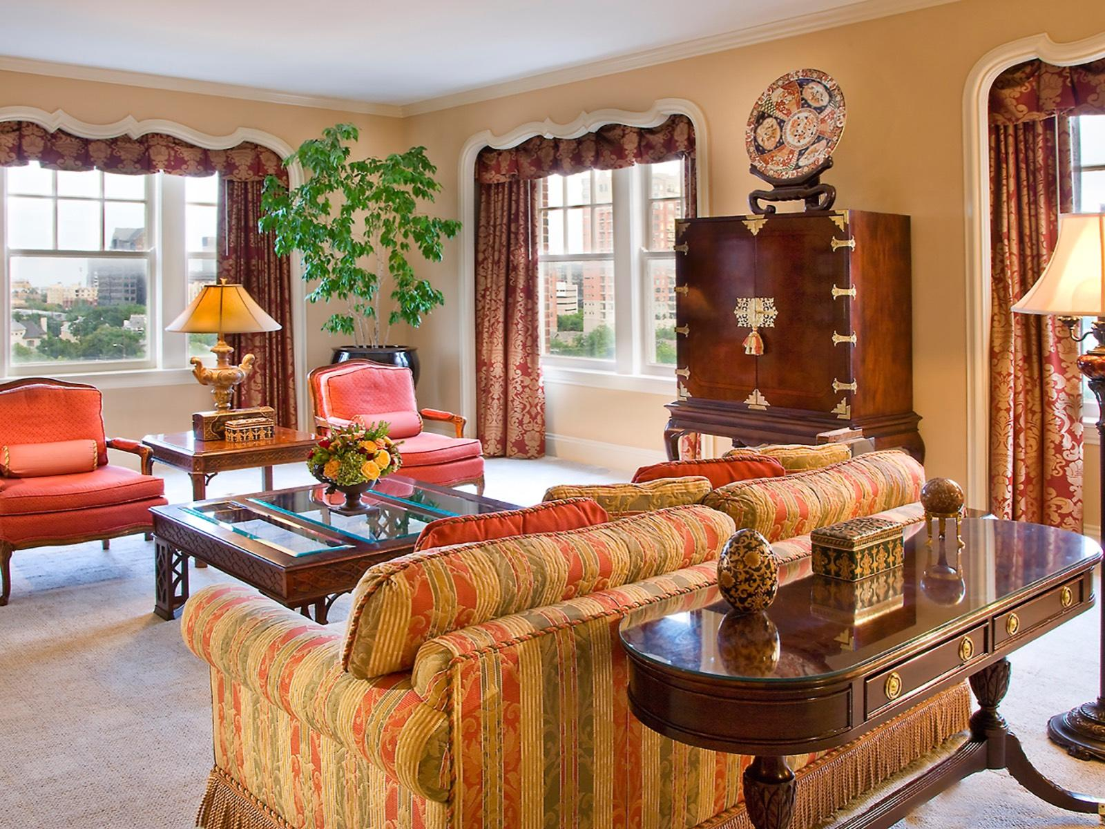 Presidential Suite Living area at Warwick Melrose Dallas