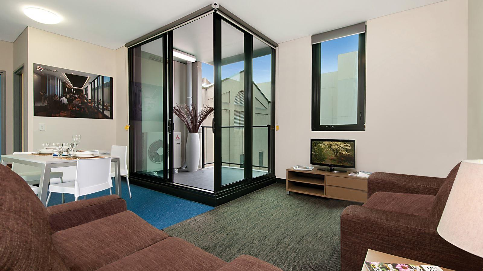 Student Living Edge Apartments – East End lounge and balcony