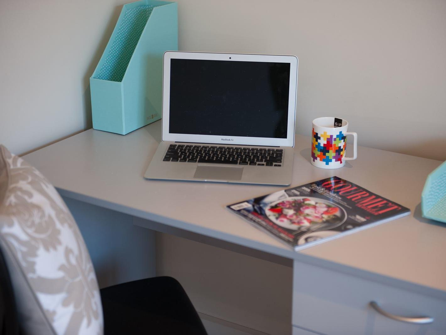 Student Living Edge Apartments – Gray Street Building - Typical study desk & chair in every bedroom