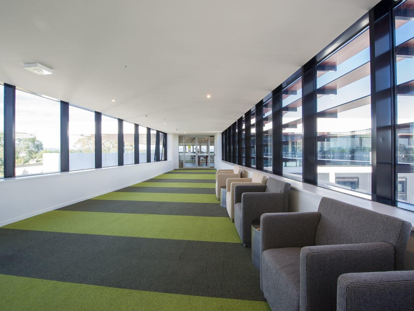 The building makes the most of the natural sunlight, even in the corridors!