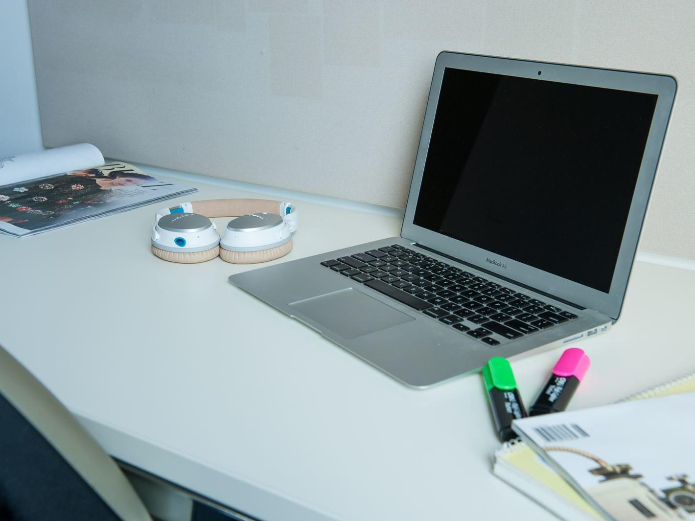 Study desk with laptop