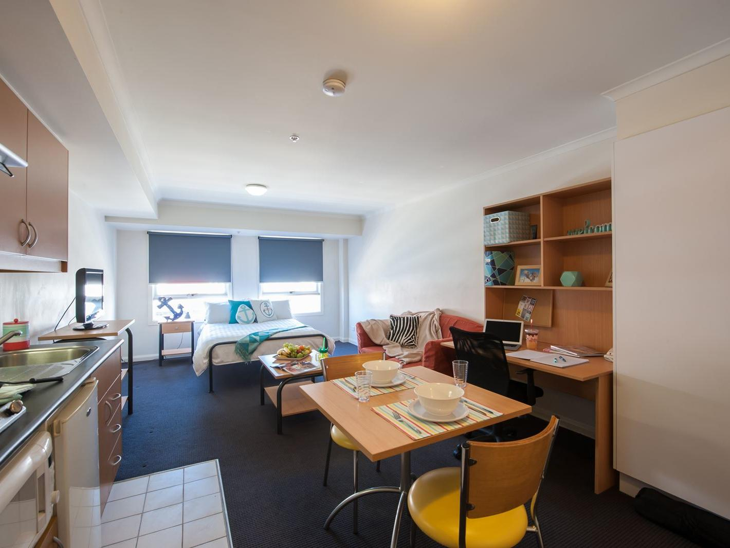Double bed studio apartment at UniLodge on Flinders