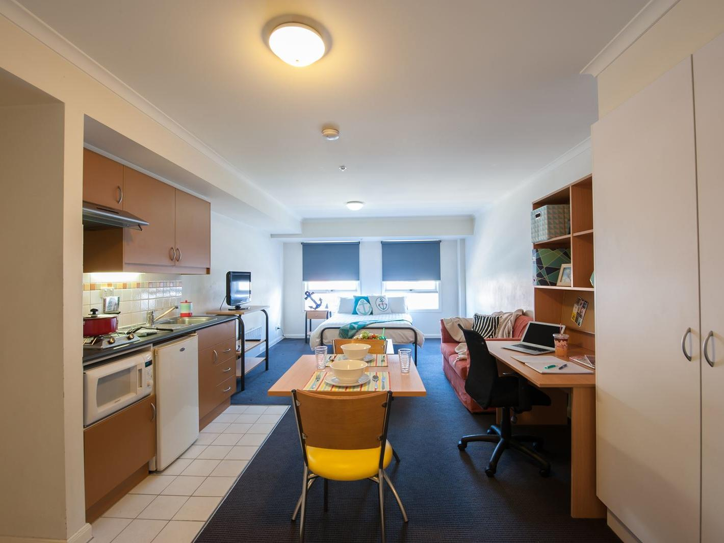 Double bed studio accommodation at UniLodge on Flinders