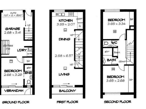 3 Bedroom, 1 Bathroom Floor Plan