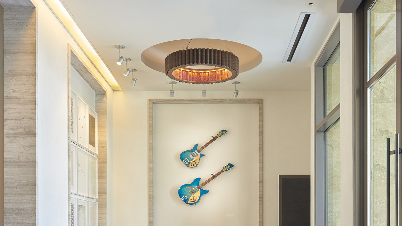 guitars hung up on wall