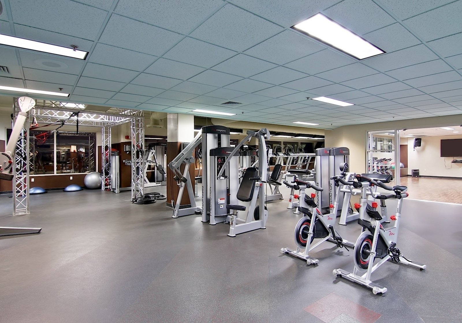 exercise equipment in a gym