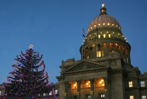 Boise Capitol Building with Christmas Tree