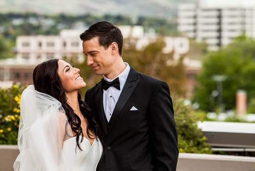 A newly married couple on the 4th floor terrace at The Grove Hotel