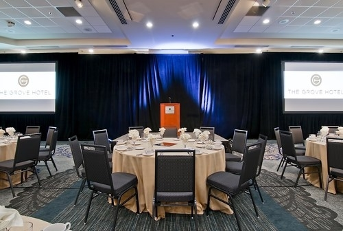 The Grove Hotel Ballroom set up for a corporate meeting
