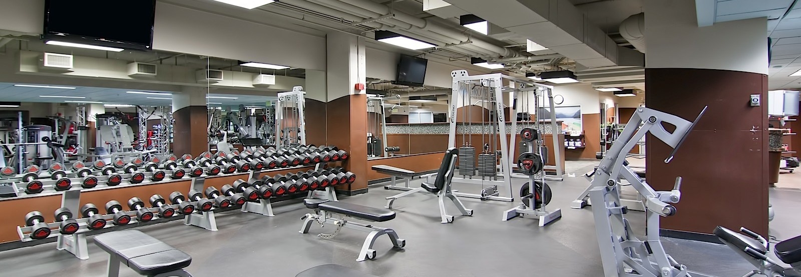 a set of weights and benches in a gym