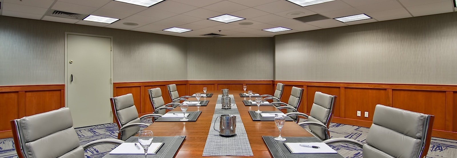 A boardroom table in the Cattails room at The Grove Hotel