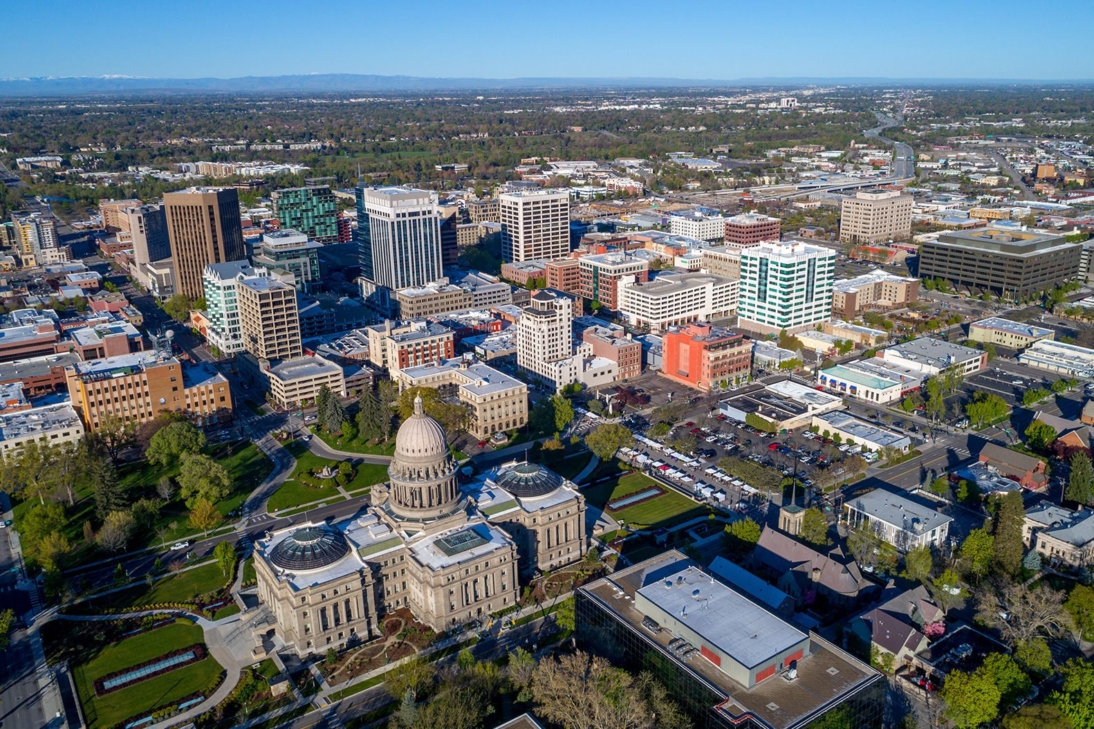 Birds eye view of Boise and the capitol building