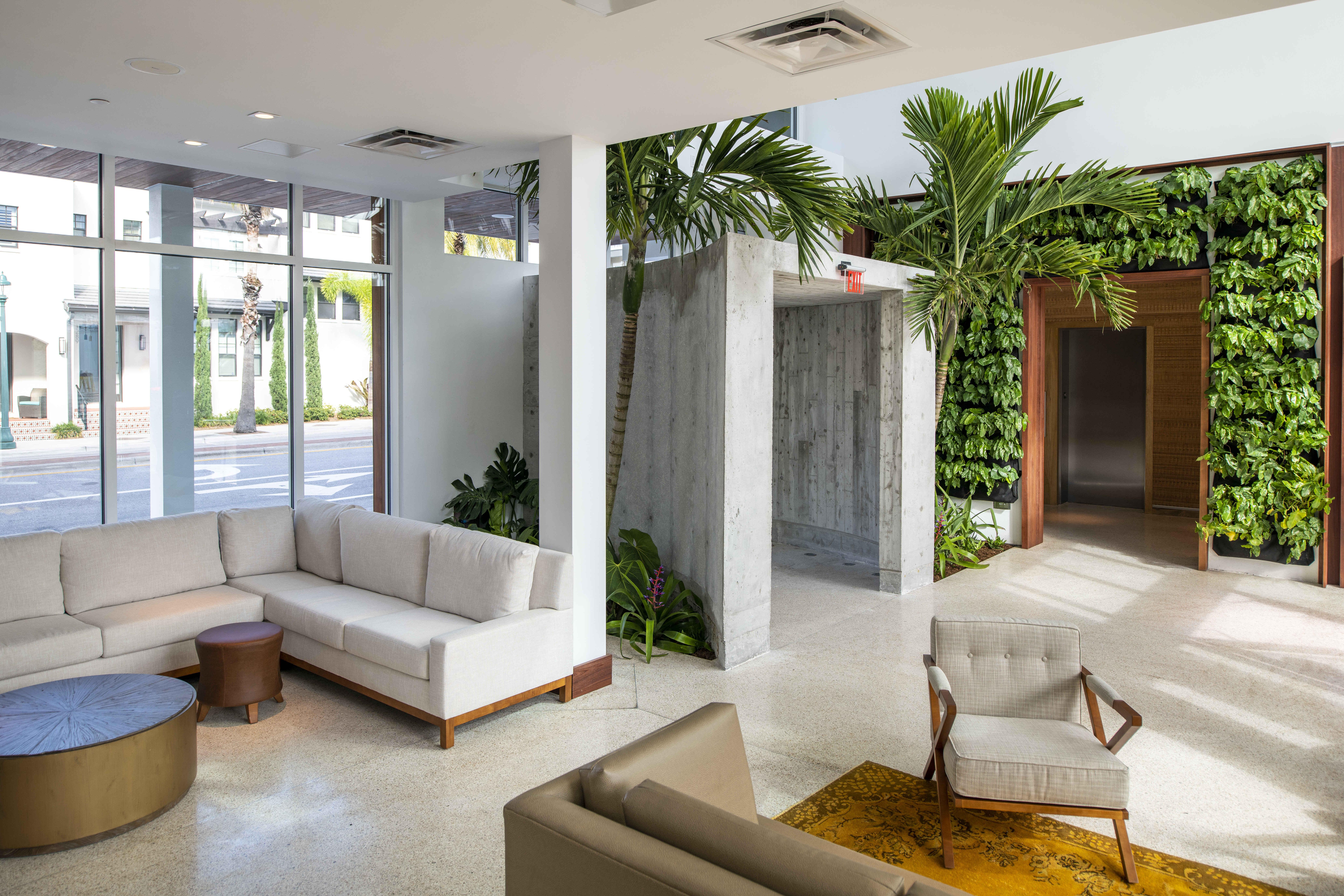 Modern hotel lobby with leaf wall