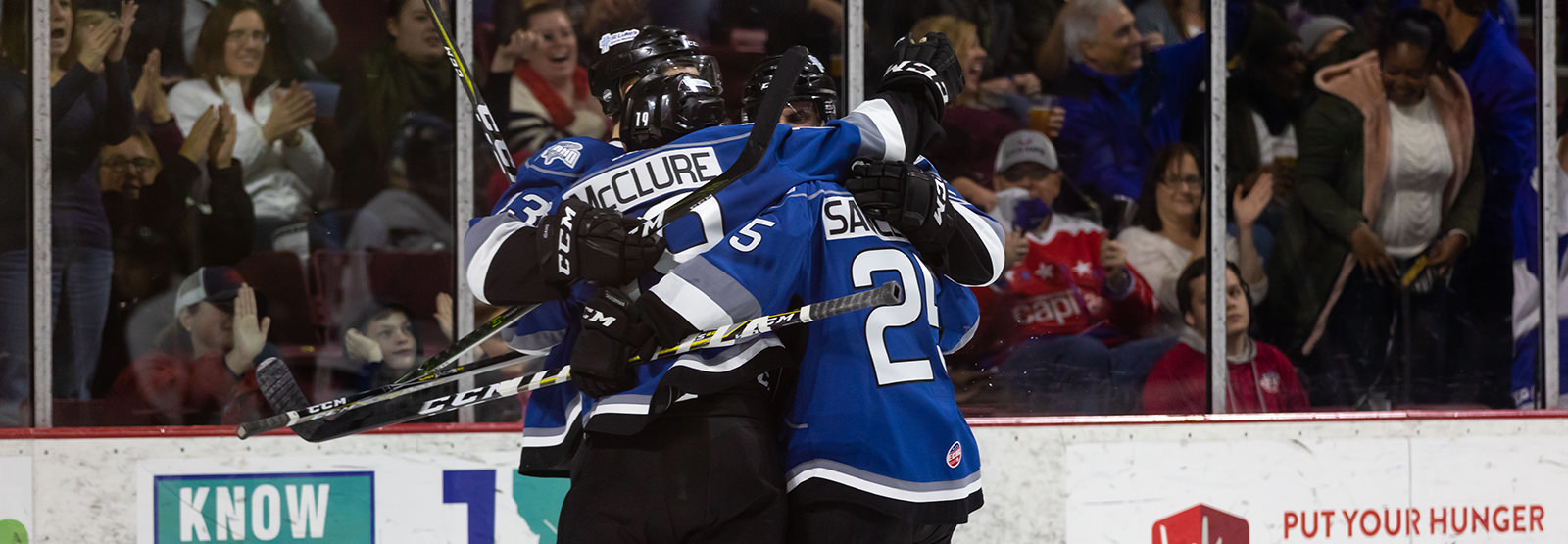 Idaho Steelheads celebrate a goal in Boise Idaho