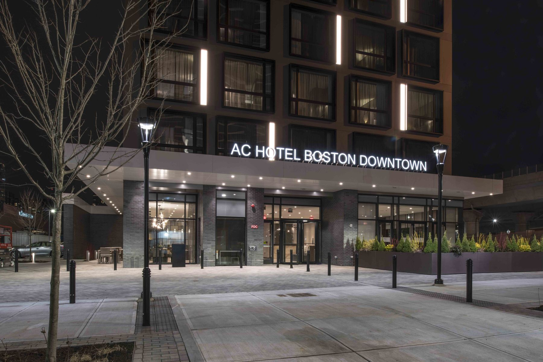 AC Hotel Boston Downtown exterior at night