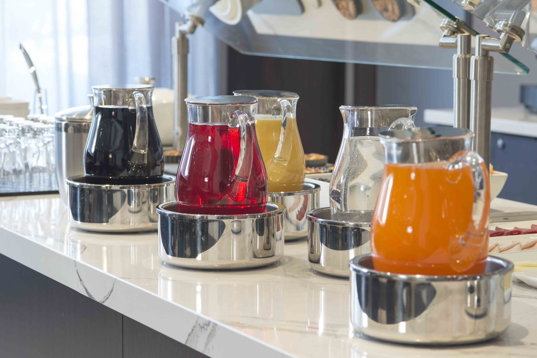 Assorted juices at breakfast buffet