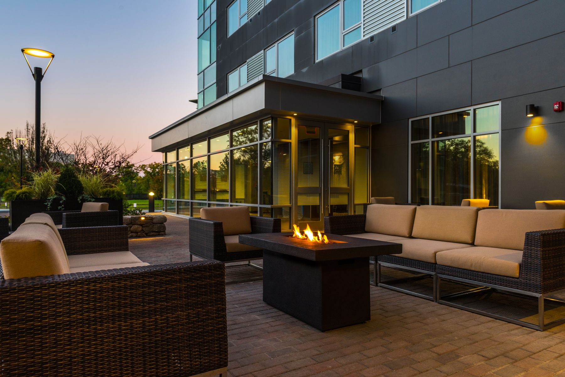 Outdoor patio seating at dusk