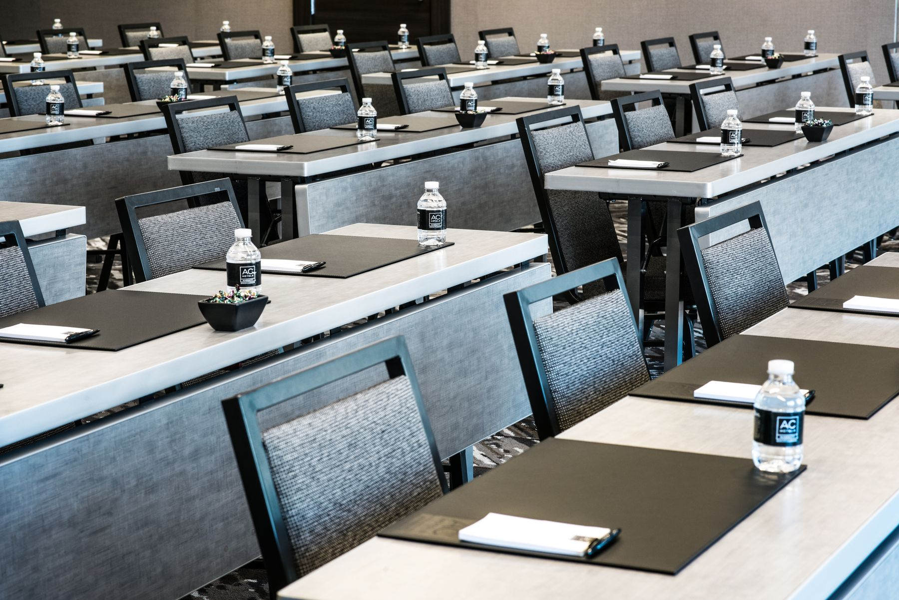 Meeting space set classroom style