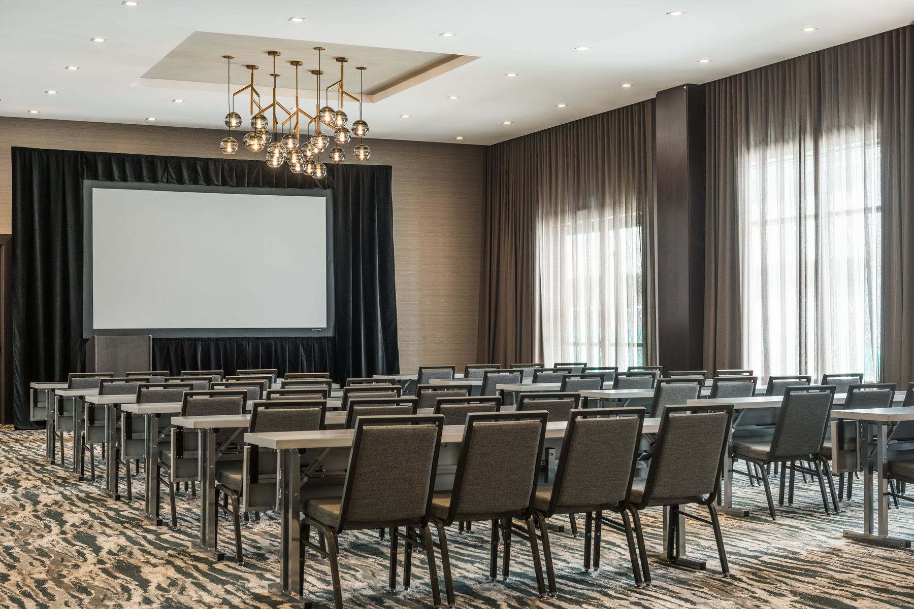 Meeting space with projector screen