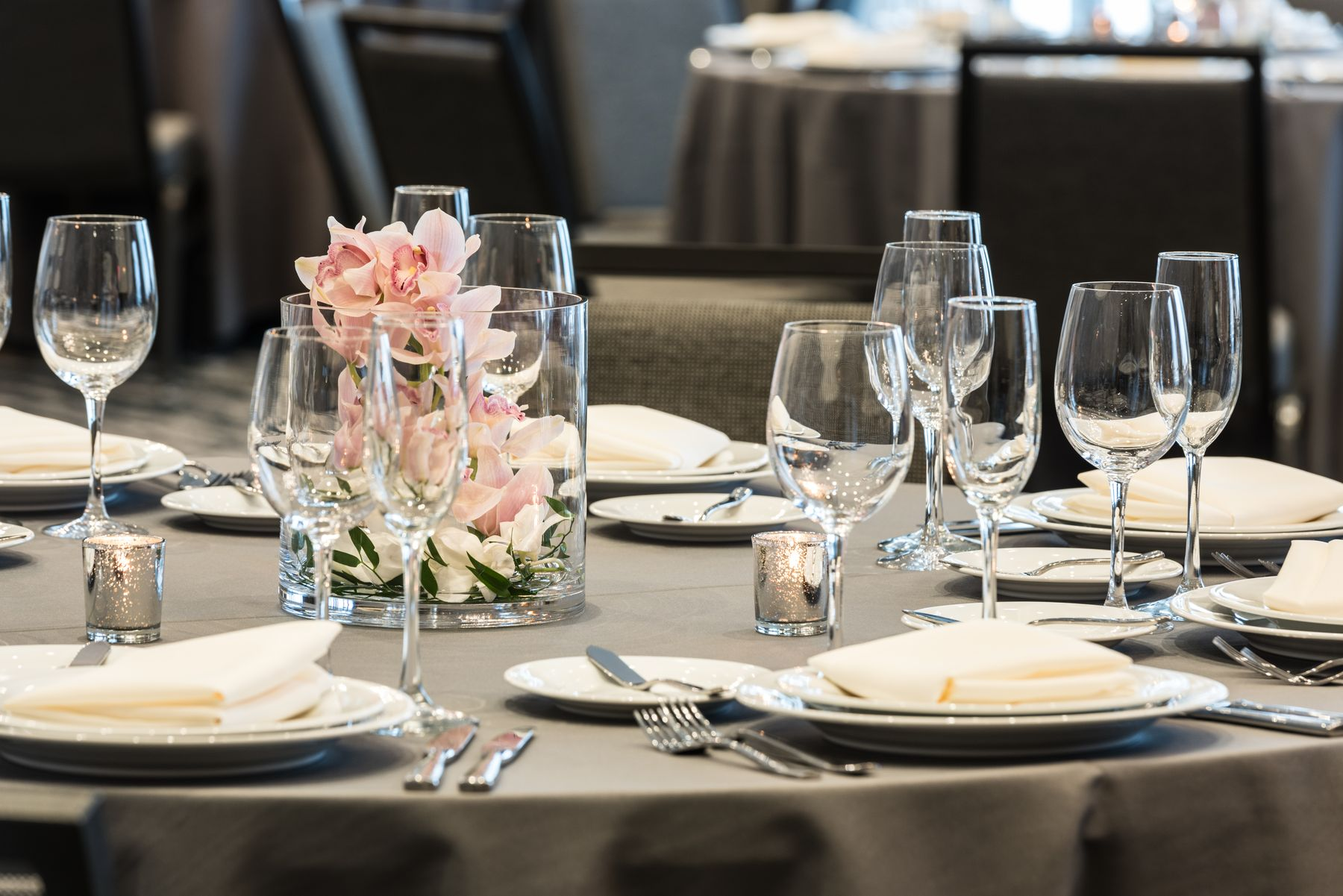 Banquet table set for event