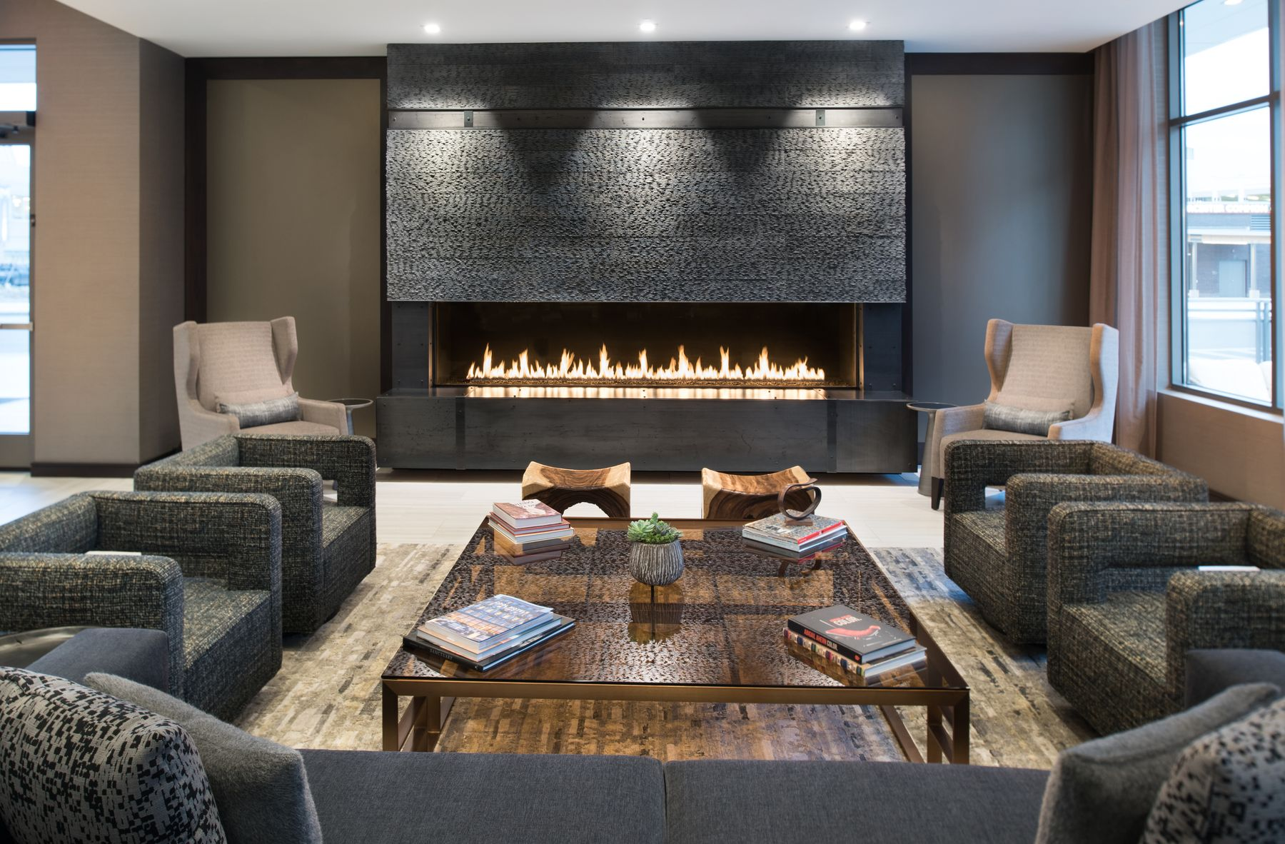 Lobby seating area with fire place