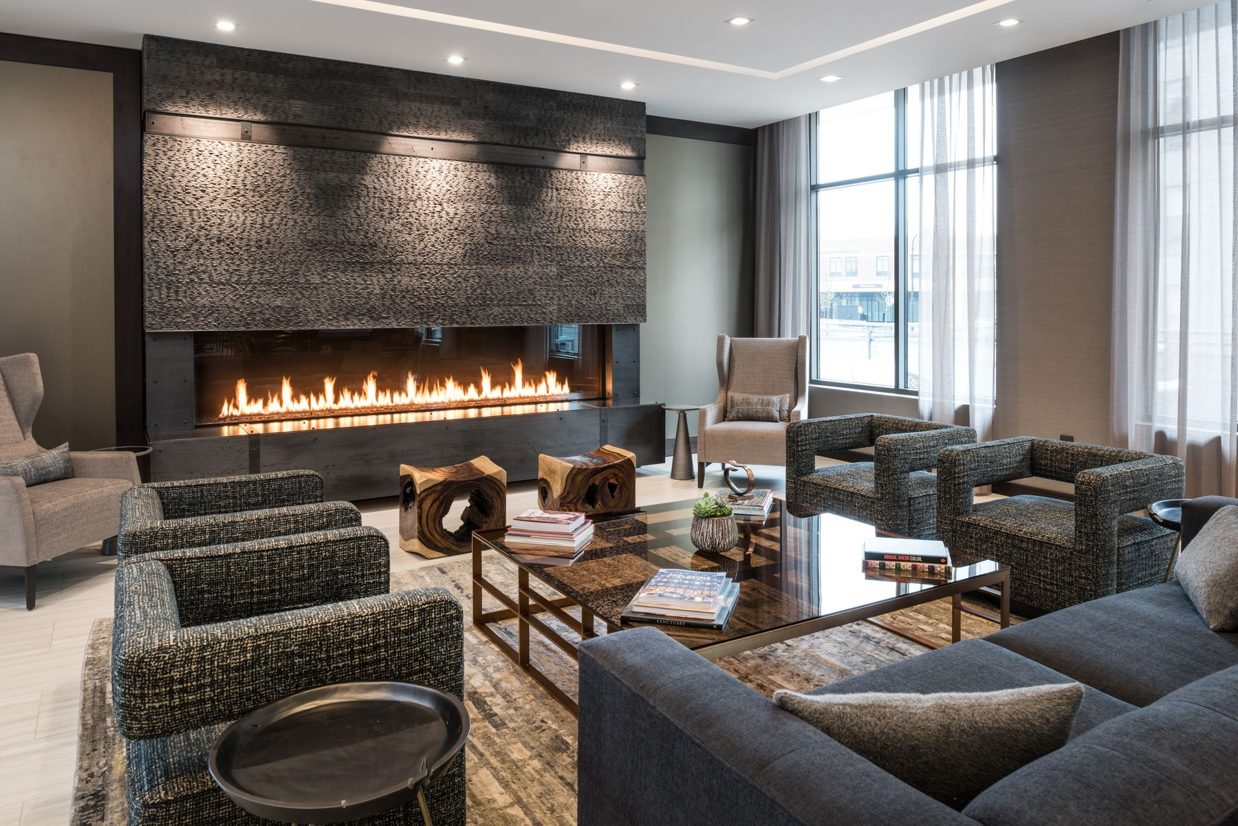 Seating area with fire place in lobby