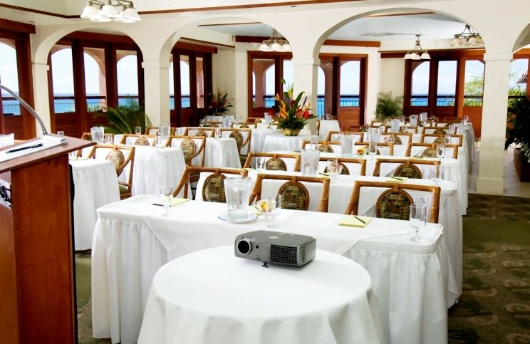 Brass Parrot Meeting venue with podium and projector