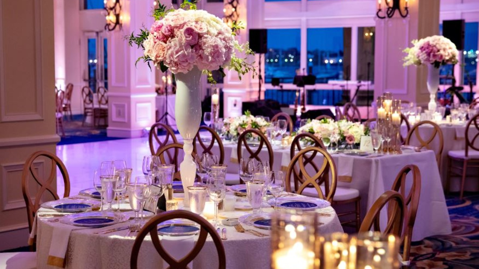 Tables set for wedding reception