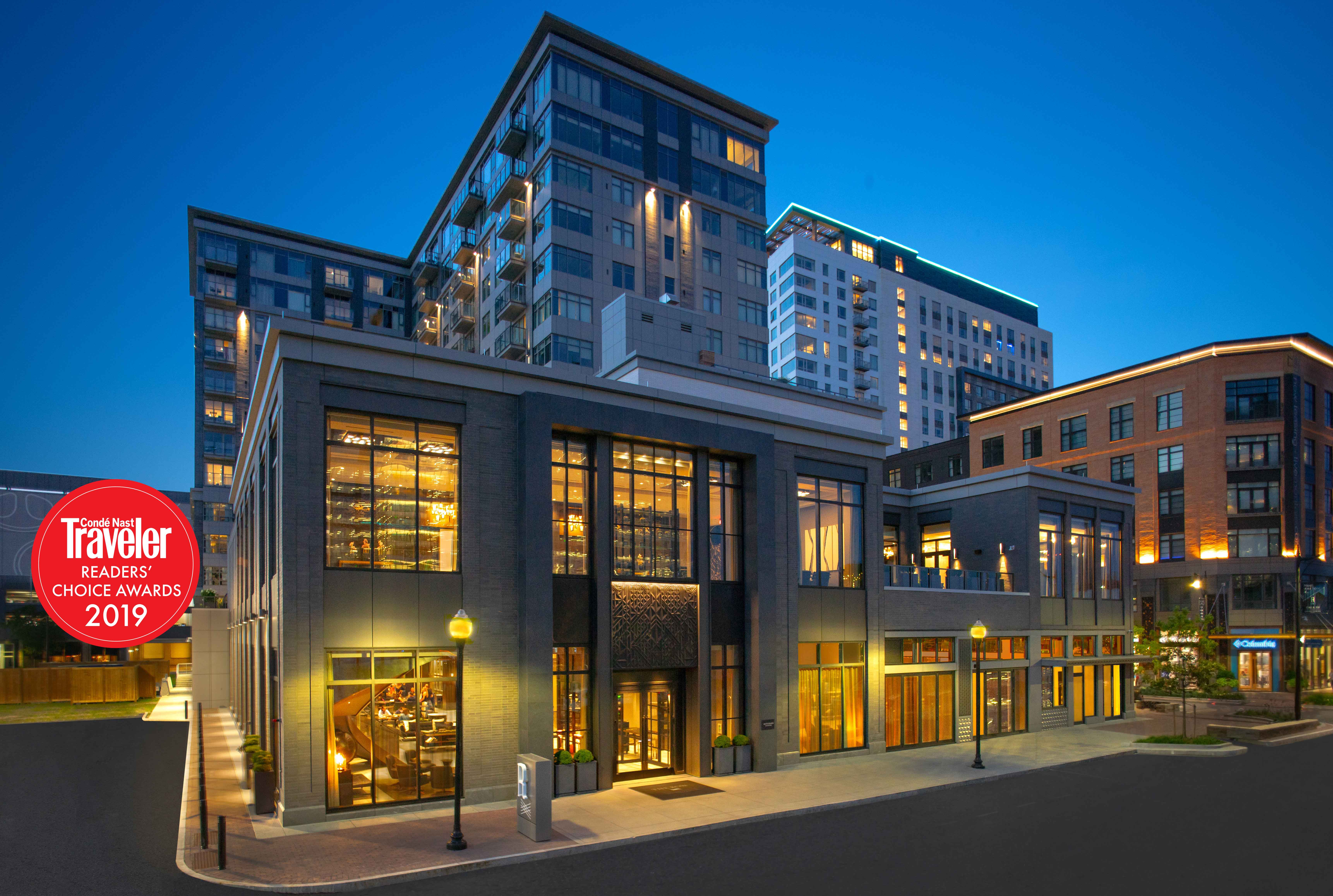 Hotel exterior at night with Conde Nast Traveler Readers' Choice