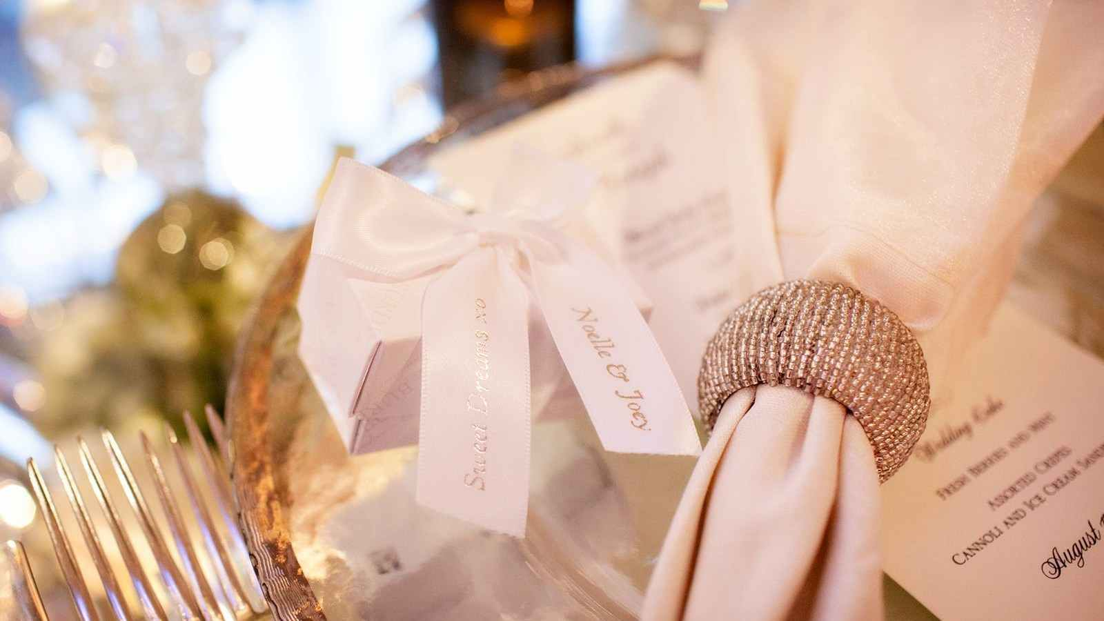 Napkin holder and wedding menus