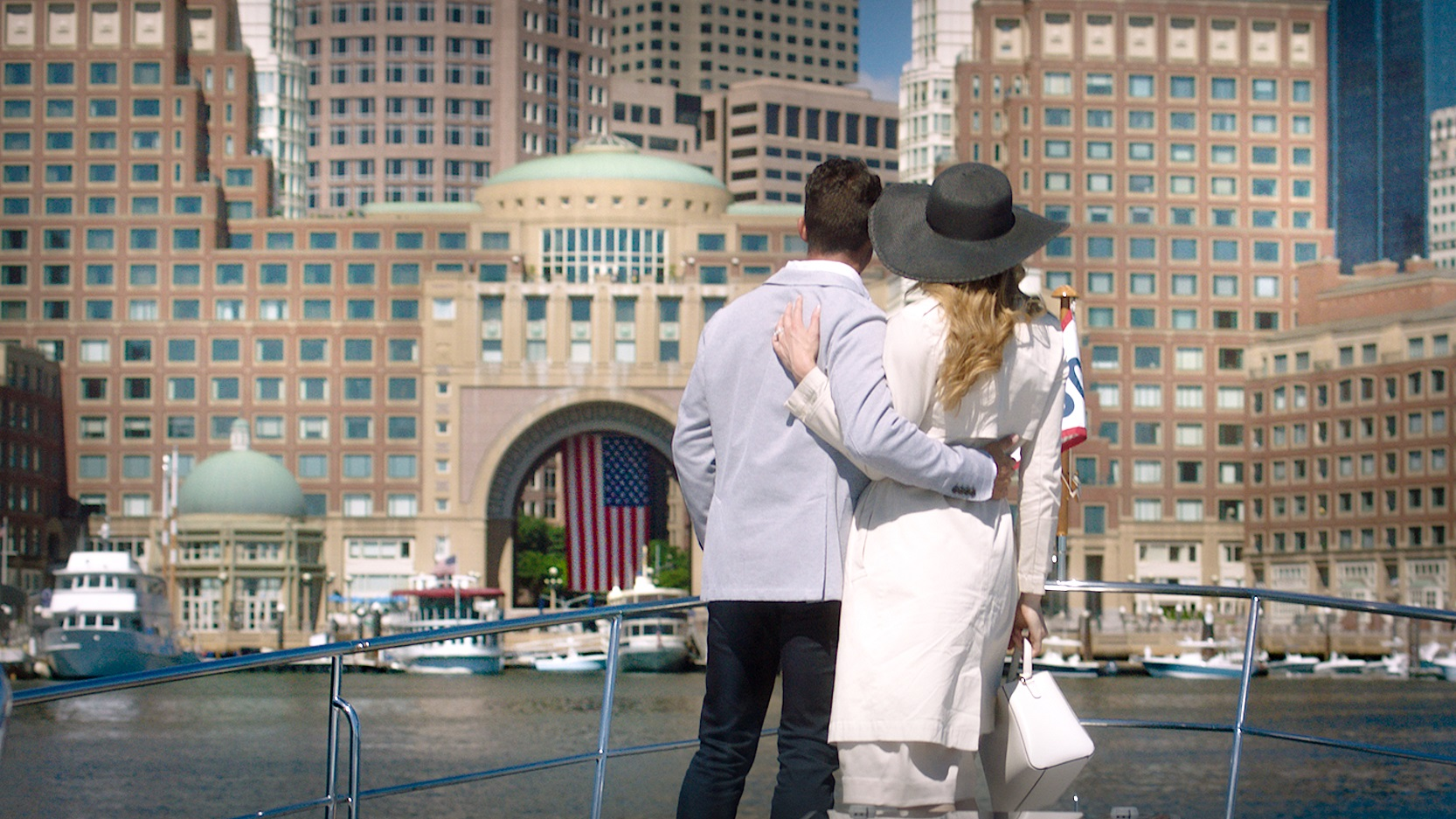 Happy couple at Rowes Wharf, Boston