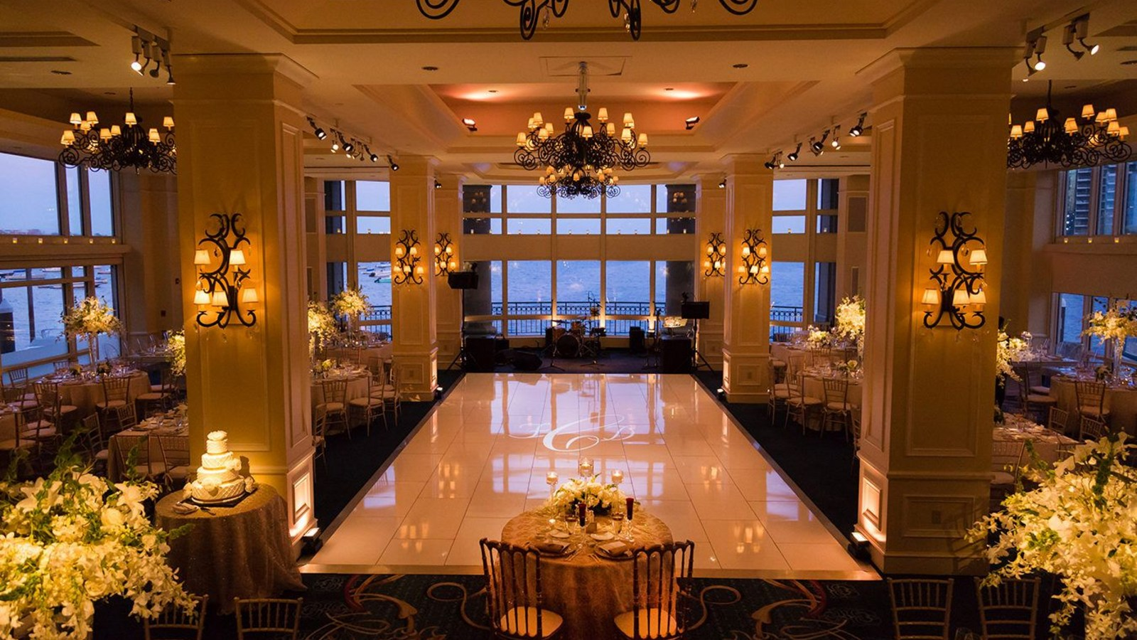 Grand ballroom set for wedding reception
