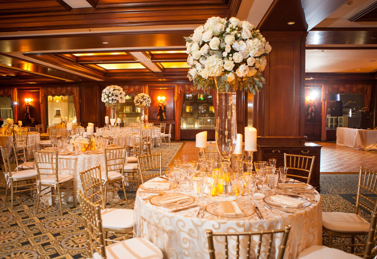 Atlantic Ballroom set for wedding reception at Boston Harbor